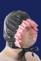 Latex baby bonnet with ruffles
