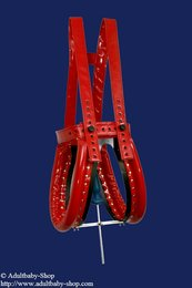 Special spreader pants patent leather red w. option plug a. magnet lock