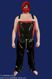 Latex Dungarees long legs with frills