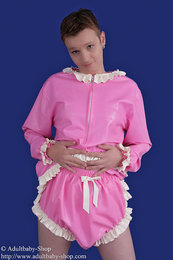 Latex Babydoll shirt and nappy trousers with ruches