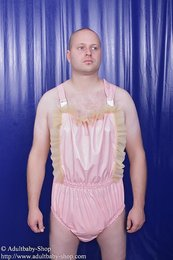Latex Dungaree with ruches wide step
