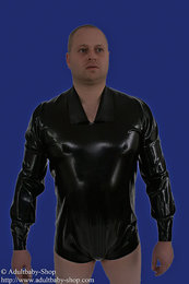 Latex shirt trousers crotch buttoned