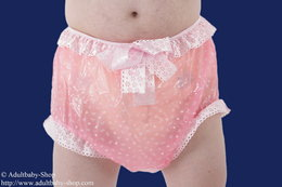 Diaper pants Latex with satin ruffles and loop