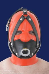 Rubber muzzle with chinstrap and pacifier