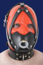 Rubber muzzle with collar and pacifier