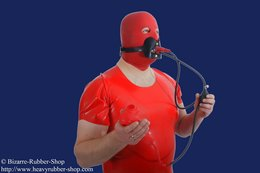 Gag harness with testicle condom option lockable