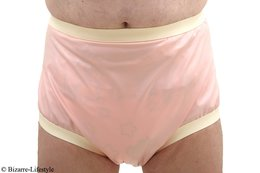Two-colored latex diaper pants size L babypink white with chlorination