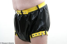 Two-colored latex diaper pants lockable