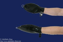 Bondage mittens option lockable M black Rubber 0,60mm lockable with D-Rings without locks