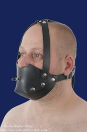Rubber muzzle with inflatable butterfly gag option lockable