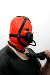 Gag head harness with testicle condom option lockable