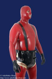 Diaper punishment harness with suspenders lockable