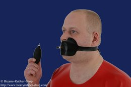 Latex gag harness with inflatable gag