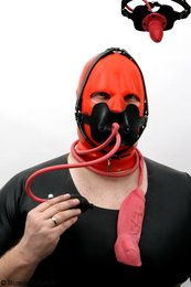 Gag head harness inflatable with testicle condom option lockable